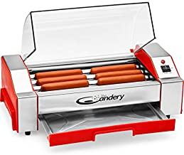 The Candery Hot Dog Roller - Sausage Grill Cooker Machine - 6 Hot Dog Capacity - Household Hot Dog Machine for Children and Adults