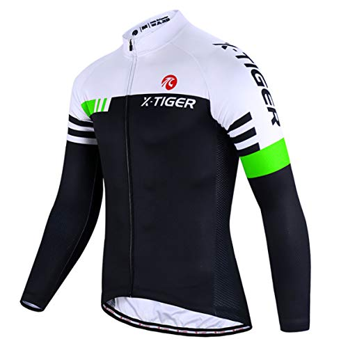 X-TIGER Cycling Bike Jersey Men,Bicycle MTB Shirts Long Sleeve with 3 Rear Pockets