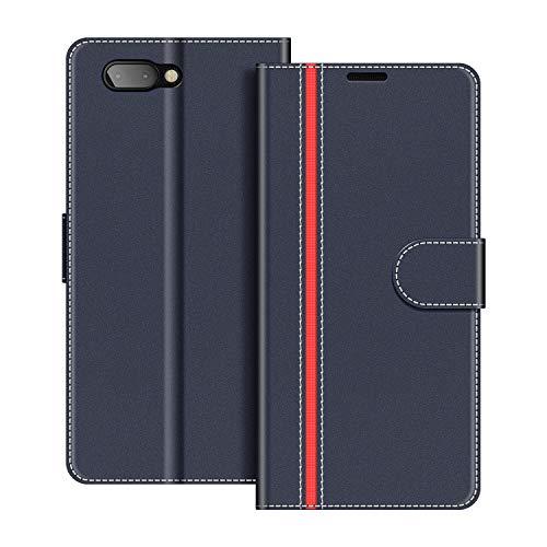COODIO Handyhülle für BlackBerry Key2 Handy Hülle, BlackBerry Key2 Hülle Leder Handytasche für BlackBerry Key2 Klapphülle Tasche, Dunkel Blau/Rot