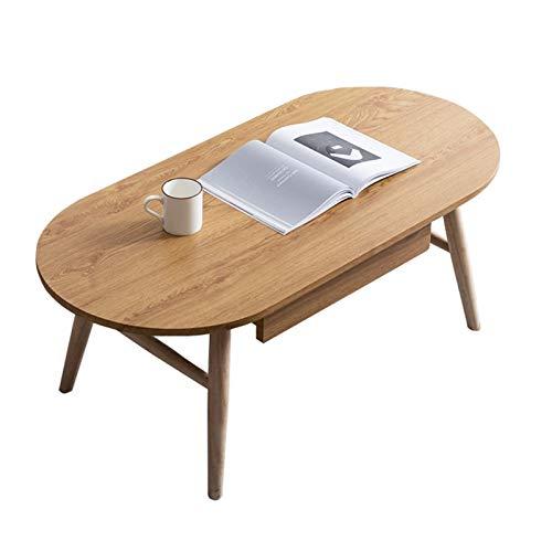 Mesa de café pequeña de madera maciza con cajón de almacenamiento simple y moderna mesa auxiliar para sala de estar, dormitorio, sala de estar, dormitorio, mesa de té, mesas finales (color de madera)