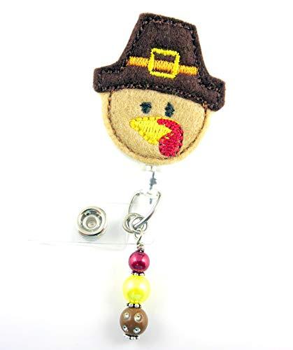 Thanksgiving Pilgrim Turkey - Nurse Badge Reel - Retractable ID Badge Holder - Nurse Badge - Badge Clip - Badge Reels - Pediatric - RN - Name Badge Holder