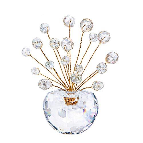 Manzano decoración de cristal de cristal de coches Bonsai árbol del dinero amatista maceta decorativo Árbol de la planta de la buena suerte coleccionables cristal para oficina en casa habitación