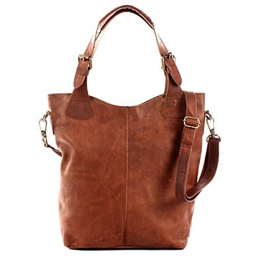 LECONI Henkeltasche Echtleder Vintage-Look Damentasche für Shopping Handtasche für Damen Leder Shopper mit Trageriemen Beuteltasche für die Arbeit, Büro oder Alltag 34x35x10cm braun LE0054-wax