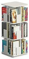 床に立って360°回転本棚、本棚、収納収納ラック、ディスプレイラック、ベッドルーム、リビングルーム、オフィス、研究 (Color : White, Size : 3 Tiers)
