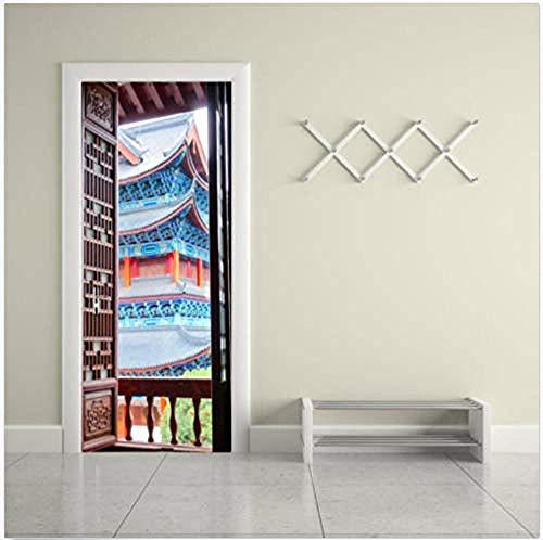 Deursticker 3D oude Tempel deur sticker fotobehang zelfklevende muursticker 80 x 200 cm