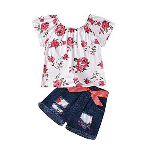 LEXUPE Kleinkind Baby Kinder Mädchen Schulterfrei Blumenspitzen Bogen Jeans Shorts Set Outfits(Rot,120)