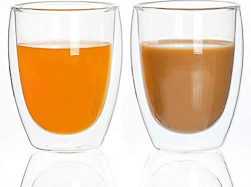 UMIGAL Doppelwandige Gläser Borosilikatglas - Für Tee, Kaffee, Latte, Cappuccino Gläser Kaffee Gläserset / Tee Doppelwandiges Café Crème- Glas Set 2 - 350ml (350ML)