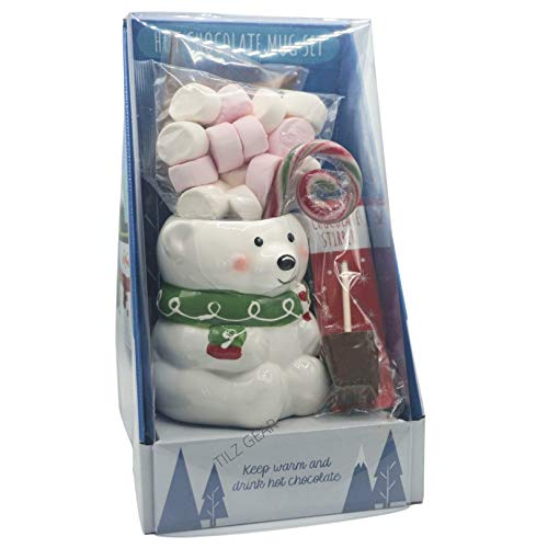 One Giant Christmas Hot Chocolate Mug Gift Set with Hot Chocolate Mix - Large Marshmallows - Hot Chocolate Stirrers - Large Candy Canes Sweet in Snowman OR Polar Bear Mug - Perfect Xmas Eve Gift