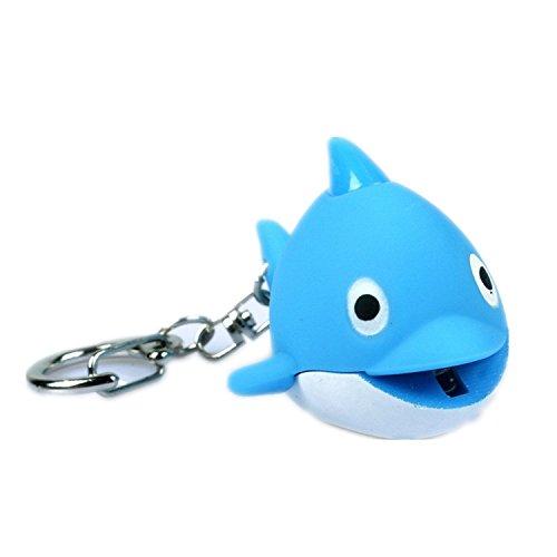 Odetojoy - Llavero de delfín con linterna LED y juguetes de llavero 3D de dibujos animados animales de voz para niños