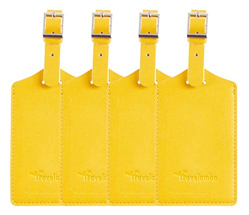 4 Pack Leather Luggage Travel Bag Tags by Travelambo Yellow