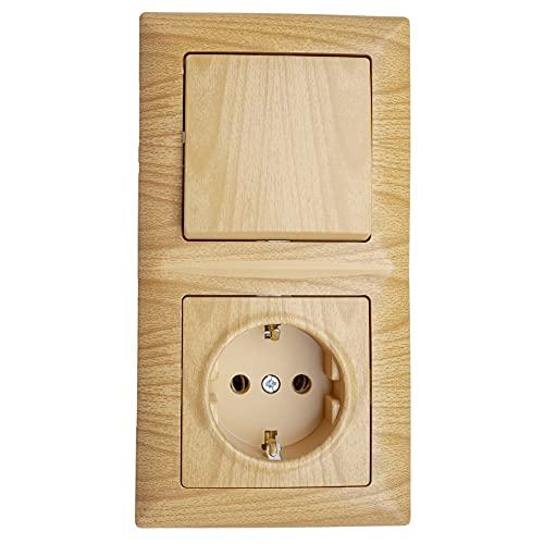 Gunsan Visage - Enchufe combi con protección contra arañazos, empotrado, aspecto de madera, ácorno