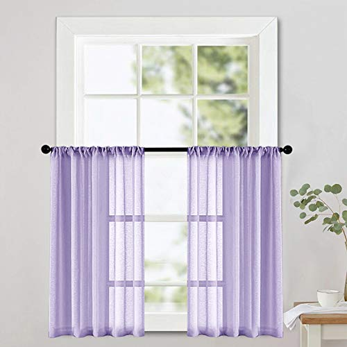 Sheer Tier Curtains 36 inch Length Lilac Kitchen Curtain Sheers Short Transparent Voile Small Window Curtain Panels Bathroom Rod Pocket Light Filtering Light Purple 2 Panels