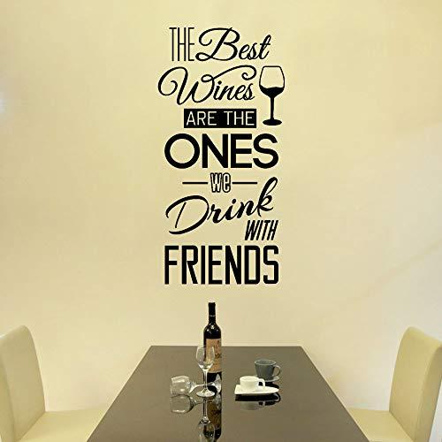 wandaufkleber 3d Wine Decal Die besten Weine sind die, die wir mit Freunden trinken