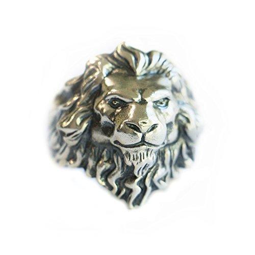 LINSION TA109 - Anello da uomo in argento Sterling 925 con re del leone e Argento, 24,5, cod. TA109