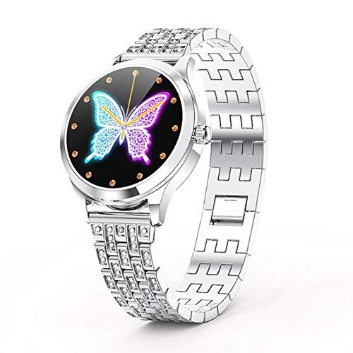 FZXL Smart Watch LW07 Círculo Completo Táctil Completo De Acero Inoxidable Completo Moda De Mujer Reloj Bluetooth Bluetooth Bluetooth Pulsera De Información,B