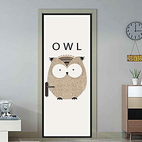 YIER LIFE 3D door sticker fresco mural Decals poster wallpaper Cartoon animal owl 95X215CM Door Sticker Photo Wall Paper Living Room Bedroom Waterproof Home Decor Decoration Decal Poster Creative Wall