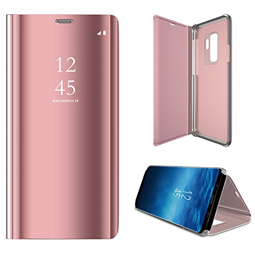 Galaxy S9Plus Funda Espejo Cover, Samsung Galaxy S9Plus Espejo piel, fnbk Ultra-Slim Mirror Case Cover Flip Carcasa Clear teléfono móvil Cartera, Oro Rosa