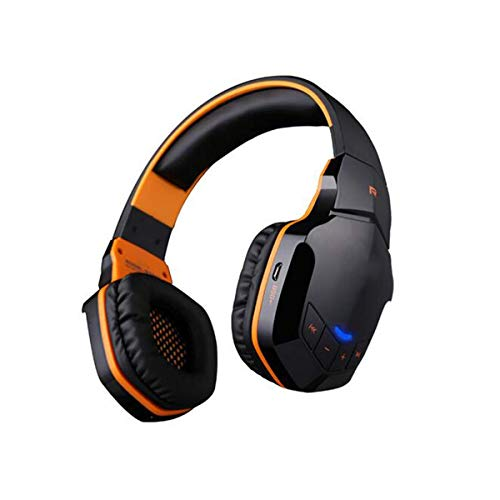 YAJIWU Headphones, Wireless Bluetooth Stereo 3.5Mm Plug USB Plug Professional Lightweight Gaming Headphone Music Call Games Headset Support NFC with Mic Remarkable Sound,White (Color : Orange)