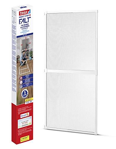 tesa Insect Stop FALT - Malla mosquitera para puertas con marco de aluminio plegable - Marco telescópico ajustable - Blanco - 80 cm x 170 cm a 100 x cm x 220 cm