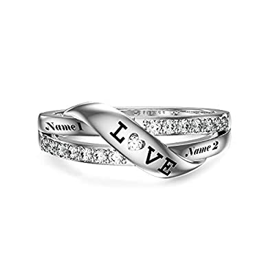 HUKKUN Personalized Spiral Twist Ring 925 Sterling Silver Rings for Women Custom Engraved Names Band Ring for Her Promise Ring Jewelry for Women