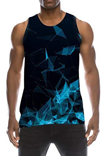 TUONROAD Camiseta de Tirantes Deportes para Hombre 3D Tops Camisa sin Mangas Chaleco Verano T Shirt Fitness M