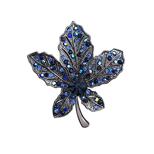 Black and Blue Maple Leaf Brosche Retro Corsage weiblichen Temperament Mantel Klage-Mantel-Pin Anzug Pullover Kragen Pin Kleidung Accessoires Dekoration Anti-Glanz Schals Buckle