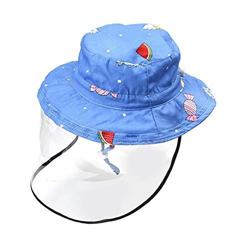 Drawihi Kinder Fischerhut mit blauem Süßigkeiten-Muster, abnehmbar, Baumwolle, Eimer, Sonne für Mädchen, Jungen, Sommer, Reise, Strand Gr. 48 cm, blau