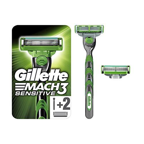 Gillette Mach3 Sensitive Rasierer, 1 Rasierer mit 2 Rasierklingen