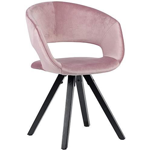 Wohnling Esszimmerstuhl Samt Rosa mit Schwarze Beine Modern | Küchenstuhl mit Lehne | Stuhl mit Holzfüßen | Polsterstuhl Maximalbelastbarkeit 110 kg