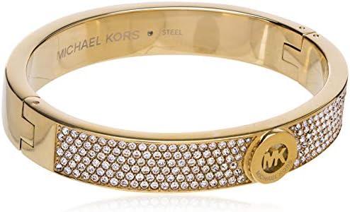 Michael Kors Women's Gold Tone Pave Fulton Hinge Bangle Bracelet (Model: MKJ3998710)