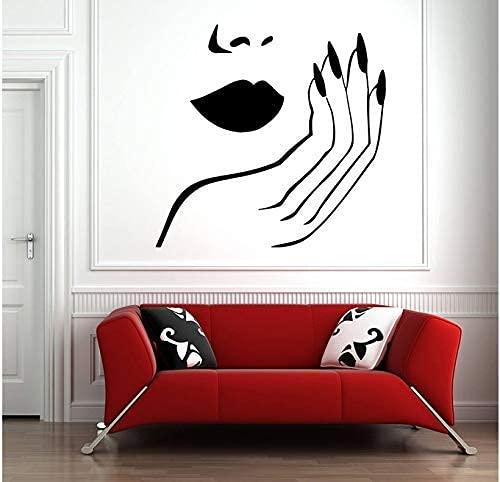 Salón De Uñas Etiqueta De La Pared Arte Tatuajes De Pared Salón De Belleza Decoración De La Habitación Labio Mano Chica Papel Tapiz De La Habitación Desmontable 42X43Cm