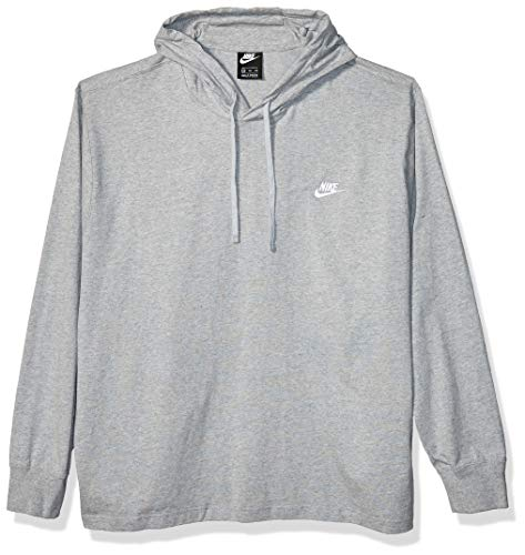 Nike Men's Sportswear Club Jersey Pullover Hoodie, Fleece Hoodies for Men, Dark Grey Heather/White, M