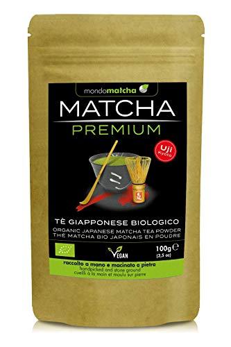 Tè Verde Matcha Bio Giapponese - Grado Premium – dalle pregiate coltivazioni di Uji, raccolto a mano, macinato a pietra - 100g Organic mondomatcha