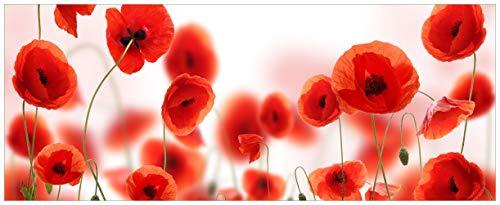 Wallario Acrylglasbild XXL Leuchtende Mohnblumen - Rote Mohnblumenblüten - 80 x 200 cm in Premium-Qualität: Brillante Farben, freischwebende Optik