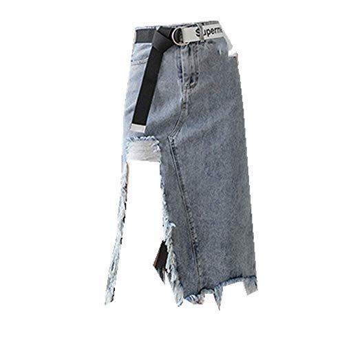 U/A Falda de mezclilla de longitud media con agujeros divididos Azul azul 52