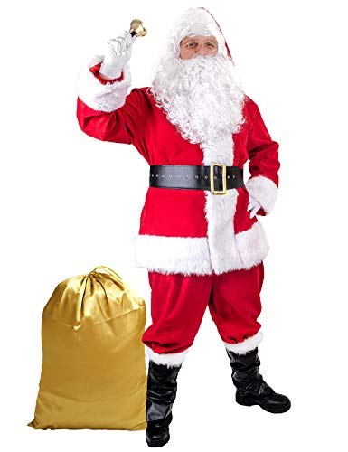Togake Santa Suit Adults Men 11pcs Set Red Deluxe Classic Velvet Santa Claus Costume for Christmas Party Cosplay M