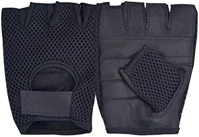 Women Leather Mesh Padded Fingerless Weight Lifting Cycling Exer