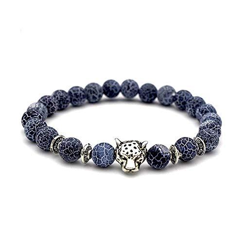 WikiMiu Pulsera para Hombres, Pulsera de ágata Natural de Piedra volcánica lapislázuli con Cabeza de Leopard (Gris Azulado)