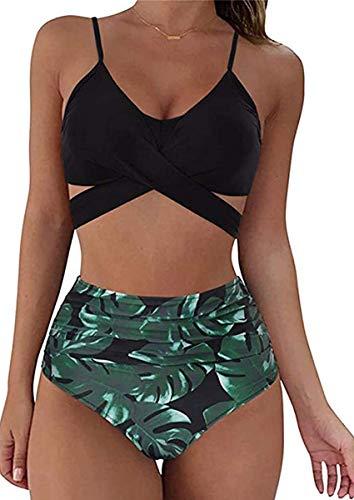 CheChury Costumi da Bagno Donna Due Pezzi Halter Bandage Mare Spiaggia Estate Sexy Push up Imbottito Bikini Set e Slip Ruched a Vita Media Bikini Bottom