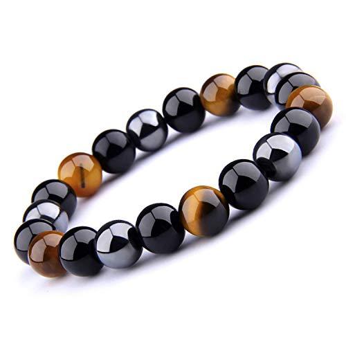 UEUC Tiger Eye Triple Protection Bracelet Hematite Beads & Black Obsidian 16 centimeters