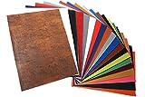 HEKO PANELS Hojas de Cuero Sintético - 20 Piezas Hojas de Tela Cuero Sintético 31x43 cm - Diferentes Colores Piel para Tapizar, Manualidades, Costura, DIY, Aretes y Decoracion