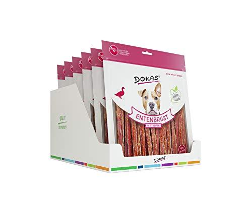 DOKAS Getreidefreier Premium Snack in Streifen für Hunde – Aus Entenbrustfilet, 6 x 500g