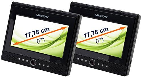 MEDION LIFE E72010 (MD 82767) 17,78cm (7 Zoll) Portabler DVD-Player (USB Anschluss, 3 in 1 Kartenleser, Xvid, DivX und MPEG4 kompatibel, mehrsprachiges OSD) schwarz