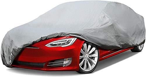 Sanlucky Cubierta de Coche Impermeable Funda de Coche Exterior Oxford+para Hatchback Anti-UV Transpirable Resistente al Polvo Lluvia Rasguño Nieve al Aire Libre algodónSedán hasta 264'