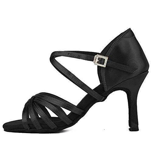 PIVFEDQX Zapatos de Baile Zapatos Latinos Zapatos de Baile de salón para Mujer Tacones Satén de Seda Salsa Bachata Zapatos de Baile, ZS213 / XGG (Color: 3 54 Inch White 213, Size: 4 UK)