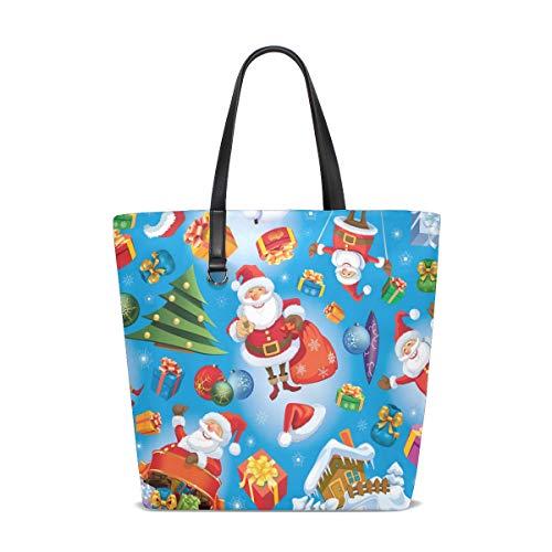 Bolas de árbol de Navidad vintage Bolsas de hombro de regalo de Papá Noel Bolsos de mano para mujeres Niñas Damas Estudiante Correa de peso ligero Bolso de compras Monedero