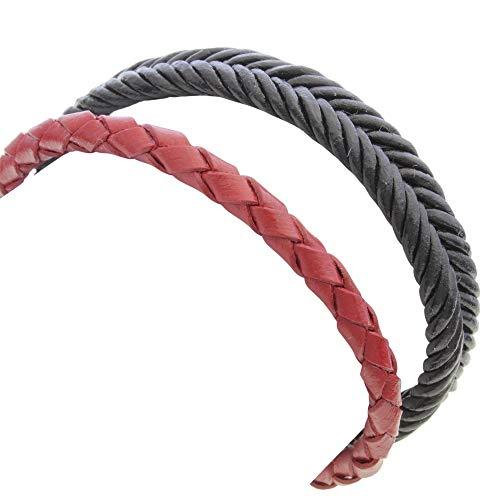DUR Schmuck Unisex Armband Leder, geflochten Magnetverschluss 21cm (A1347)