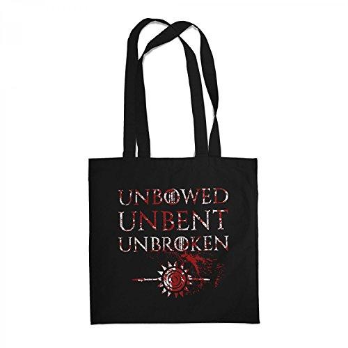 Fashionalarm Stoffbeutel - House Martell Unbowed Unbent Unbroken   Beutel Baumwolltasche Geschenk zur GoT Serie   Ungebeugt Ungezähmt Ungebrochen, Farbe:schwarz