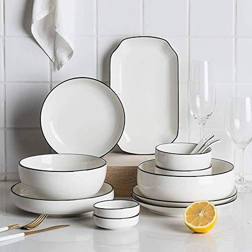 GAXQFEI Juego de vajilla de cerámica de 50 piezas, juego de vajilla de porcelana japonesa Black Line con cuencos, plato, cuchara, servicio para 10, gran regalo para amigos y hogar