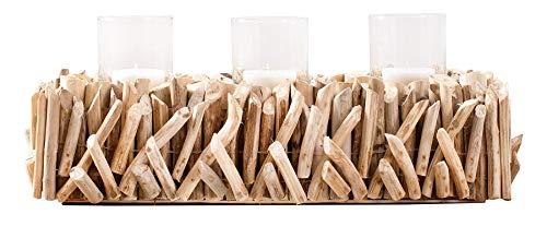 levandeo Windlicht L50cm Tischdeko Kerzenständer Kerzenhalter Teelichthalter Treibholz Wohndeko